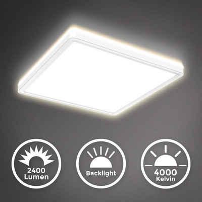 B.K.Licht Deckenleuchte »BKL1311«, 18 Watt LED Panel, Ultra Flach, 293x293x28mm, Dimmbar, Backlight - Indirektes Licht, Memoryfunktion, 4000K neutralweiße Lichtfarbe, 2.400lm, Farbe: Weiß
