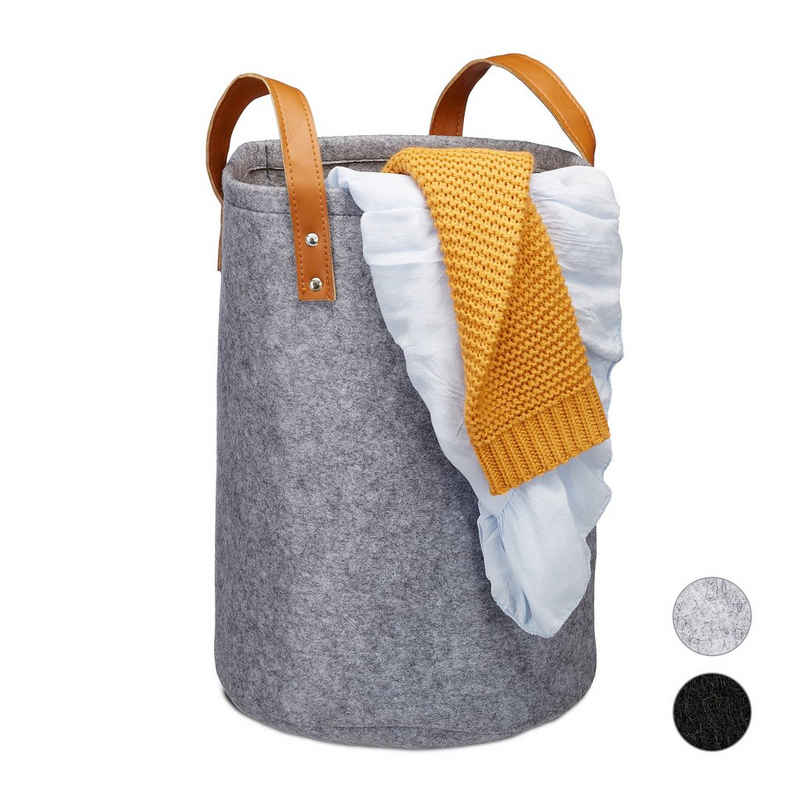 relaxdays Wäschekorb »Wäschekorb Filz tragbar«
