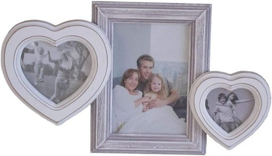 elbmöbel Bilderrahmen »Bilderrahmen 3er HERZ weiß grau«, für 3 Bilder, Wechselrahmen: 3er Herz 33x26x3 cm weiß antik