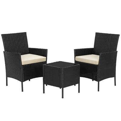 SONGMICS Gartenmöbelset »GGF001B02 GGF001K02«, (3-tlg), 3er Set, aus Polyrattan, für Outdoor, Terrasse, Balkon, einfache Montage