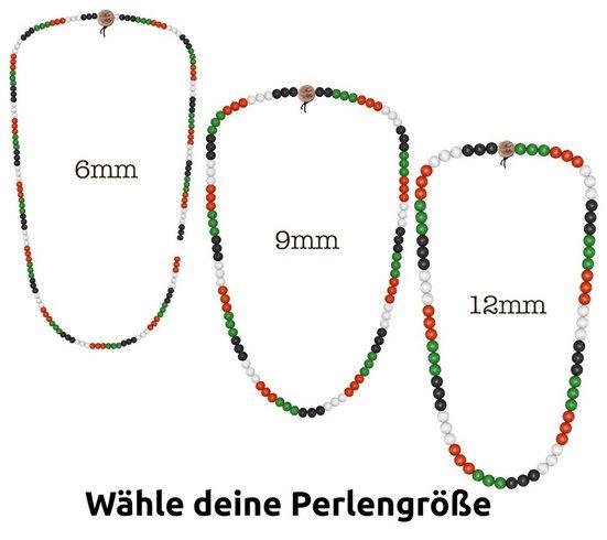 WOOD FELLAS Halsband »WOOD FELLAS Holz-Kette modischer Mode-Schmuck Hals-Schmuck Deluxe Pearl Necklace Bunt«