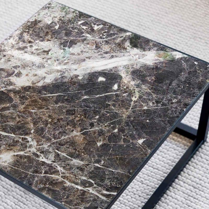 K&L Wall Art Arbeitsplatte »Glas Tischplatte Naturstein Glastisch Marmor schwarz Quadratisch Marmoroptik«