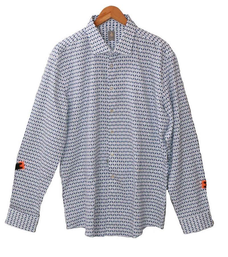 Jacques Britt Langarmhemd »JACQUES BRITT Langarm-Hemd elegantes Herren Baumwoll-Hemd mit blauem Muster Freizeit-Hemd Weiß«