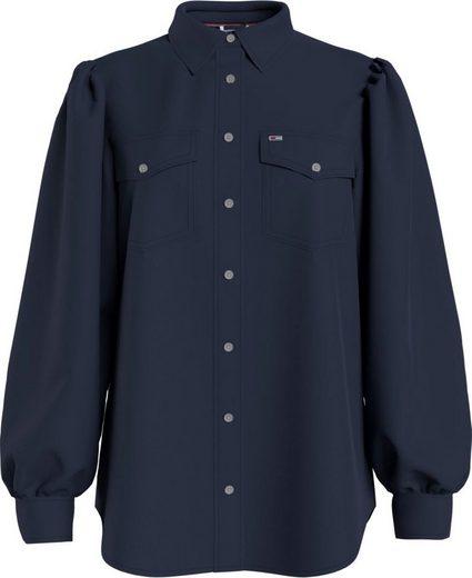 Tommy Jeans Hemdbluse »TJW Regular Puffy Sleeve Shirt« mit Brusttaschen & Tommy Jeans Logo-Flag