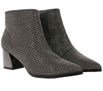 XYXYX »xyxyx Schuhe Ankle-Boots modische Damen Stiefelette mit Schmucksteinen Frühlings-Schuhe Grau« Stiefelette