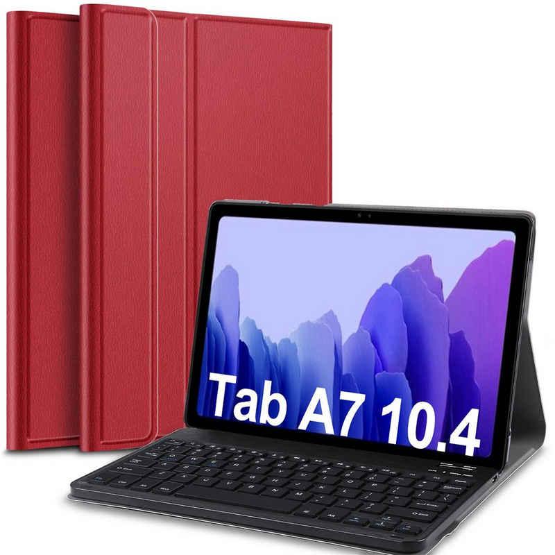 IVSO »Tastatur Hülle für Samsung Galaxy Tab A7 (Deutsches QWERTZ),« Tablet-Tastatur (Ständer PU Schutzhülle Hülle mit magnetisch Abnehmbarer Kabellose Tastatur für Samsung Galaxy Tab A7 2020 10.4 Zoll)