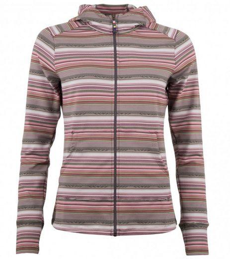 Sherpa Shirtjacke »sherpa Sport-Jacke atmungsaktive Damen Pullover-Jacke Preeti Grau/Bordeaux Freizeit-Jacke gestreift«