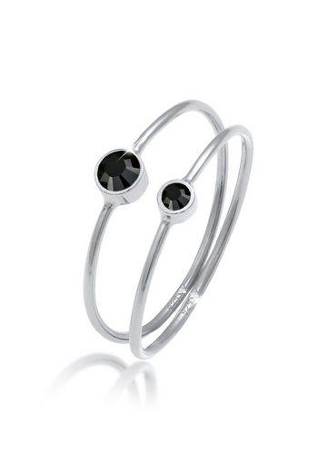 Elli Ring-Set »Schwarz Kristalle (2 tlg) 925 Silber«, Solitär-Ring