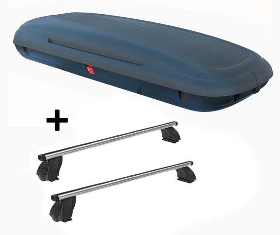 VDP Fahrradträger, Dachbox VDPCA480 480 Liter carbonlook + Dachträger K1 PRO Aluminium kompatibel mit Citroen C4 (5Türer) 04-10