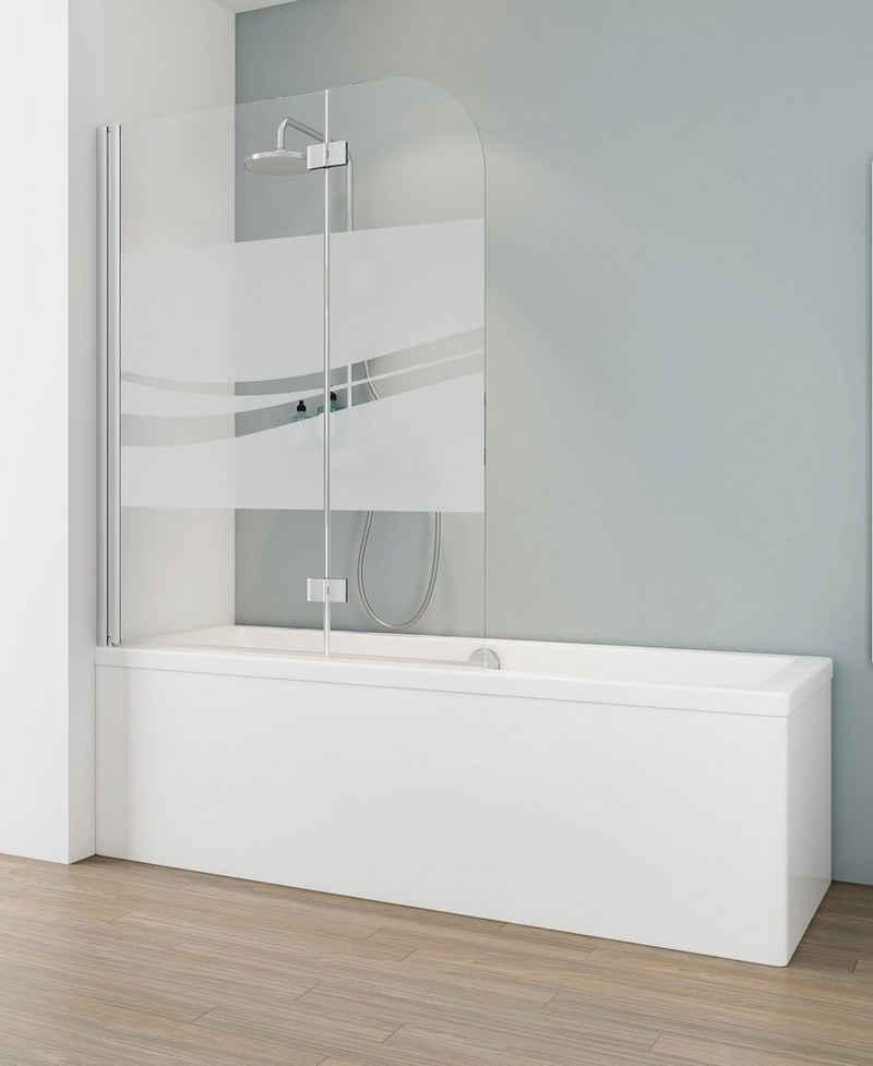 Schulte Badewannenfaltwand »Liane«, Sicherheitsglas, (2 tlg), teilgerahmt, BxH: 112 x 140 cm