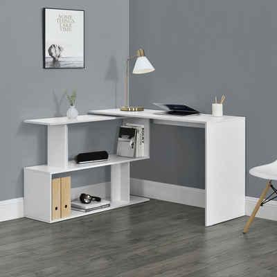en.casa Eckschreibtisch, »Arendal« Bürotisch Schreibtisch mit Regal weiß