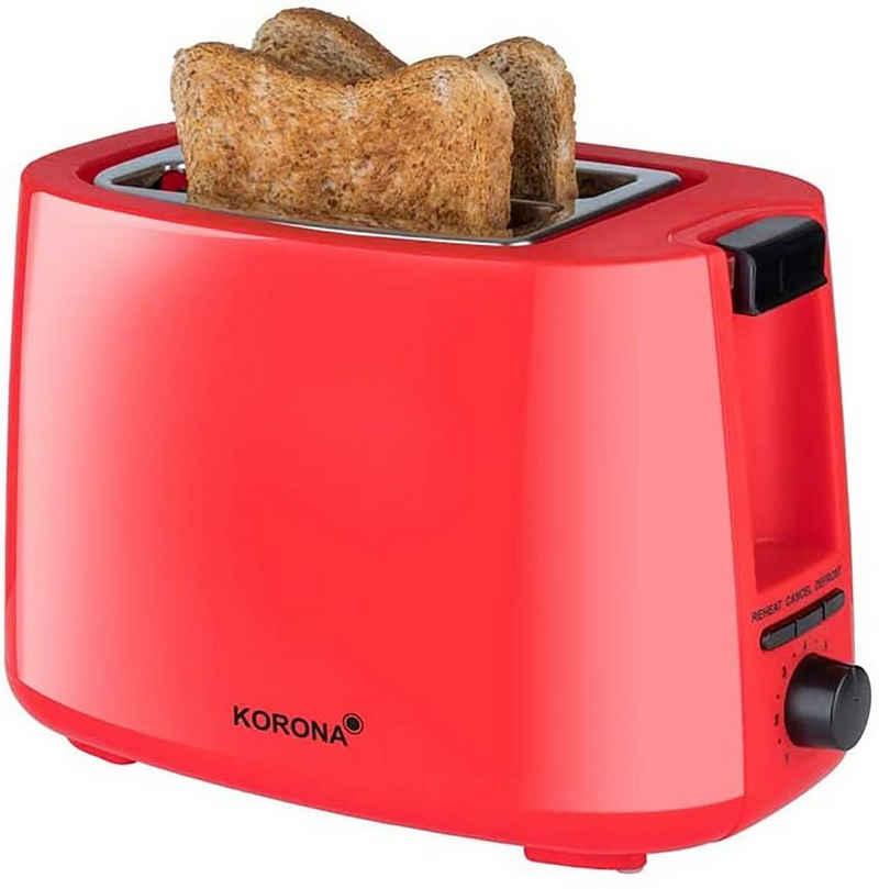 KORONA Toaster 2-Scheiben-Toaster Classic, 2 kurze Schlitze, für 2 Scheiben, 750 W, Doppelschlitz-Toaster, 2 kurze Schlitze, für 2 Scheiben, 750 W, mit Brötchenaufsatz, Krümelschublade, stufenlos einstellbar, Auftaufunktion, Aufwärmfunktion, Abschaltautomatik, Kabelaufwicklung, Farbe: Rot