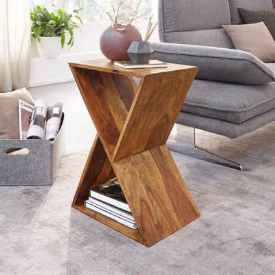FINEBUY Beistelltisch »FB58564«, Design X-Form Sheesham Massivholz Tisch Wohnzimmer Massiv Kleiner Couchtisch Echtholz