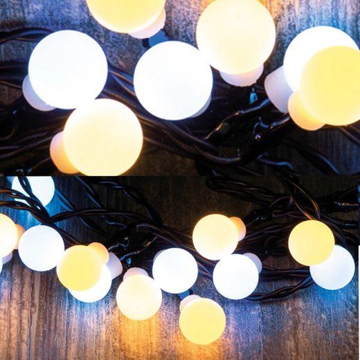 MARELIDA LED-Lichterkette »LED Lichterkette Mini Kugeln - 10 warmweiße & 10 kaltweiße opale Kugeln - L: 1,9m - Timer«, 20-flammig