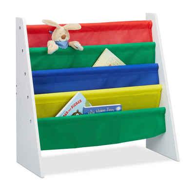 relaxdays Bücherregal »Bücherregal für Kinder mit Stofffächern«