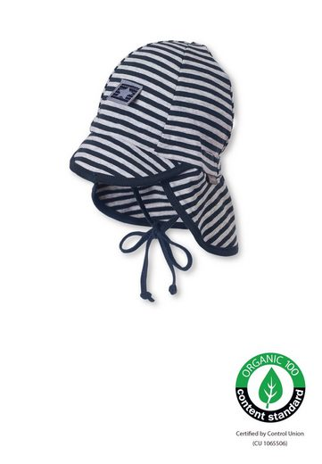 Sterntaler® Schirmmütze »OCS Schirmmütze m. Nackensch.« (1-St) aus Bio-Baumwolle; klappbarer Schirm, Ohrenklappen, Nackenschutz und Bindeband