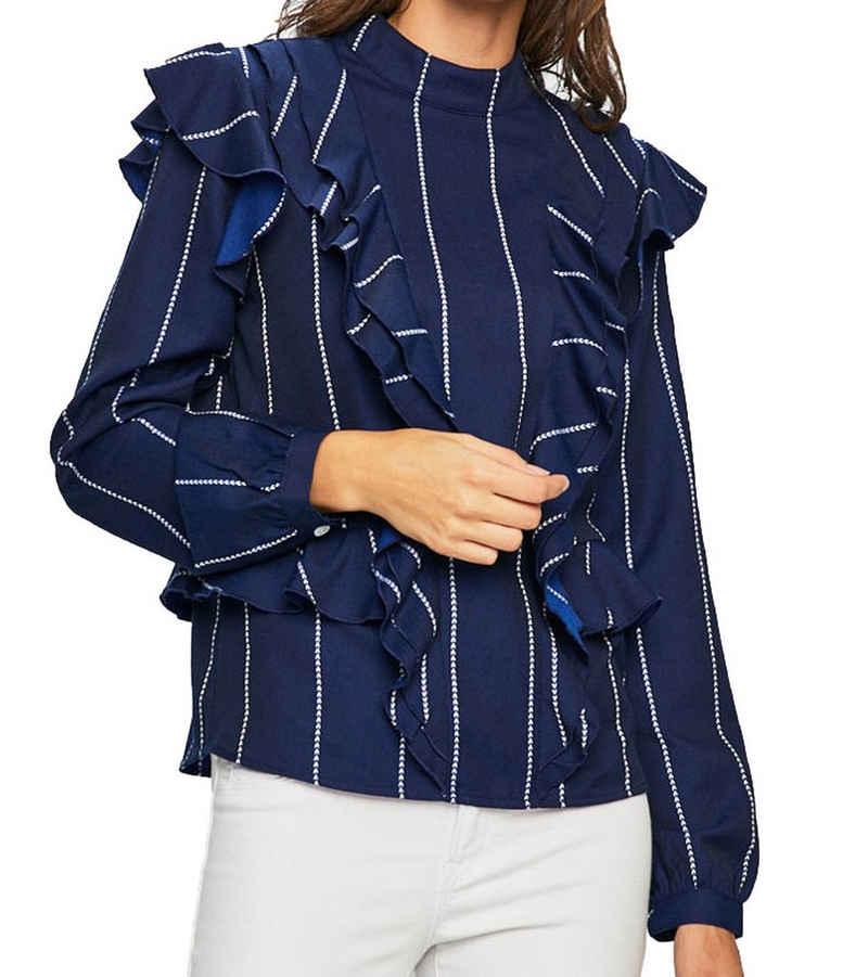 Scotch & Soda Blusentop »SCOTH & SODA Langarm-Shirt neckische Damen Hemdbluse mit Volants Freizeit-Shirt Blau«