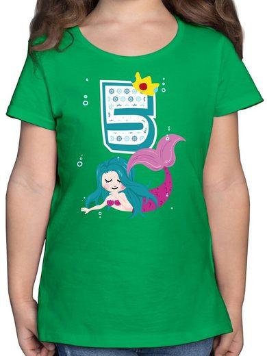 Shirtracer T-Shirt »Meerjungfrau 5. Geburtstag - Geburtstag Kind - Mädchen Kinder T-Shirt - T-Shirts« shirt 5 meerjungfrau