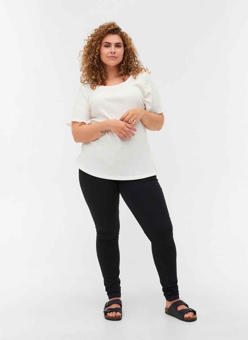 Zizzi T-Shirt Große Größen Damen T-Shirt aus Rippqualität mit Rundhals