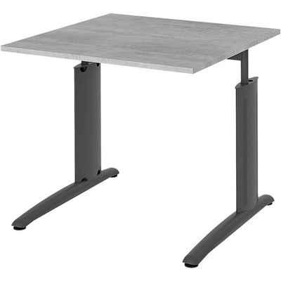 röhr Schreibtisch »start.now«, C-Fußgestell anthrazitfarben, manuell höhenverstellbar, ABS-Kanten