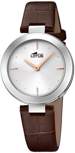 Lotus Quarzuhr »UL18483/1 Lotus Damen Uhr Elegant L18483/1 Leder«, (Analoguhr), Damen Armbanduhr rund, Lederarmband braun