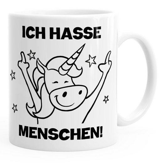 MoonWorks Tasse »Einhorn Spruch - Ich hasse Menschen Kaffee-Tasse Trend Geschenk Kollegin MoonWorks®«, Keramik