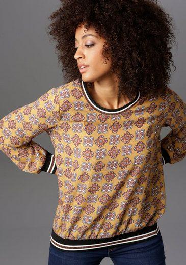 Aniston CASUAL Shirtbluse mit gestreiften Bündchen