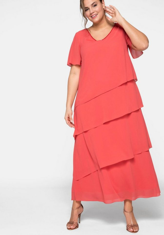 Festtagsmode - Sheego Cocktailkleid in Maxilänge › rot  - Onlineshop OTTO