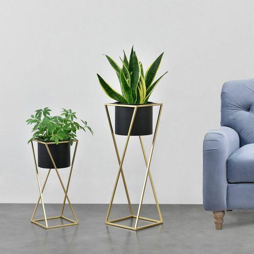 en.casa Blumenständer (Set, 2er), »Mons« Blumenkübel Pflanzenständer Pflanztopf Metall gold/schwarz