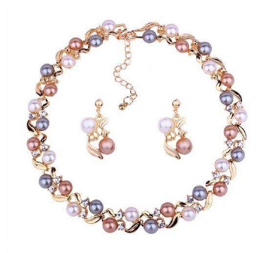 Mein Style Collier-Set »Collier mit Ohrringen Perlenimitat COM034«, mit Verlängerungskettchen