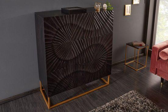 riess-ambiente Highboard »SCORPION 100cm schwarz«, aus Massivholz