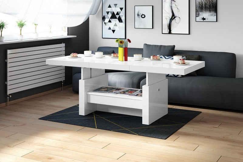 designimpex Couchtisch »Design Couchtisch Tisch Aversa H-111 Weiß Hochglanz Schublade höhenverstellbar ausziehbar Esstisch«