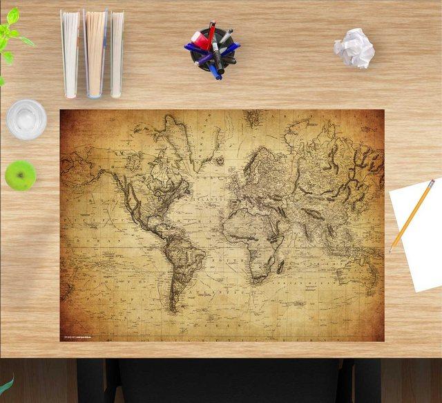 Kindertische - cover your desk.de Schreibtischaufsatz »Schreibtischunterlage für Kinder und Erwachsene – Weltkarte vintage – 60 x 40 cm – aus hochwertigem Vinyl«, (1 St)  - Onlineshop OTTO