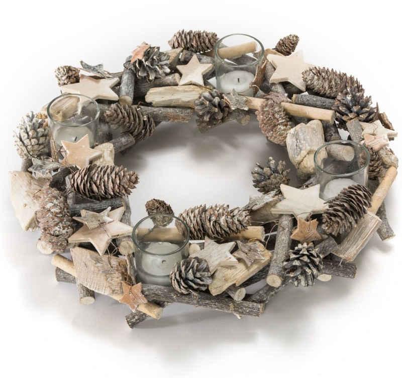 Adventskranz »Shabby«, aus Naturmaterialien, Durchmesser ca. 38 cm
