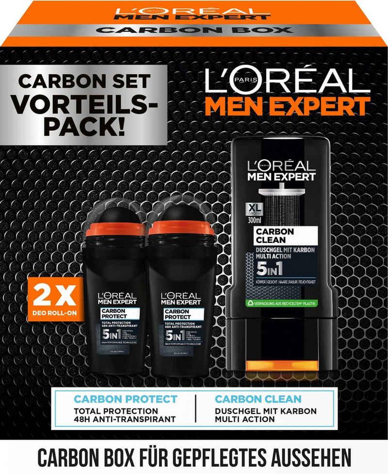 L'ORÉAL PARIS MEN EXPERT Deo-Set »Carbon Box mit Deo + Duschgel«, 3-tlg.