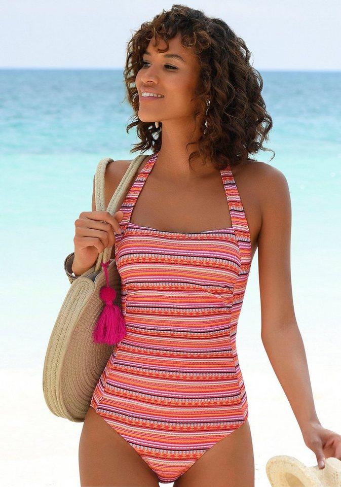 Bademode - LASCANA Badeanzug, mit glitzernden Streifen › orange  - Onlineshop OTTO