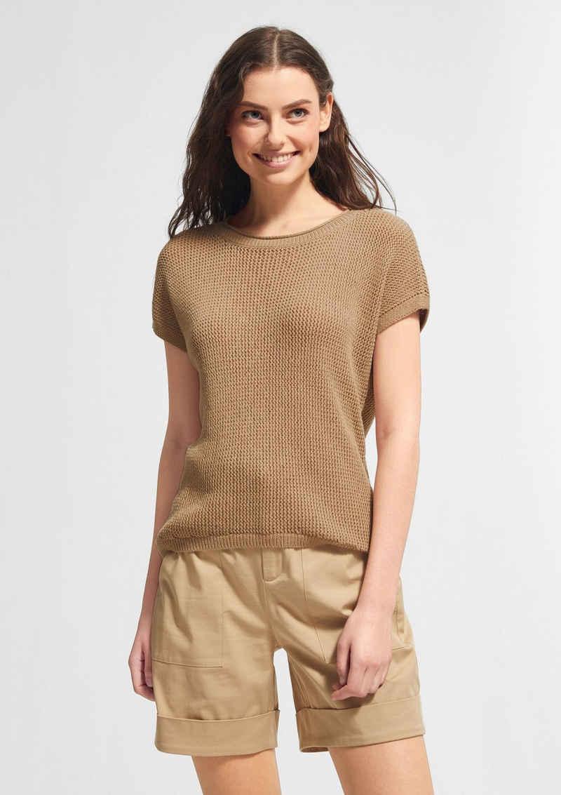 comma casual identity Kurzarmshirt »Leichter Pullover aus Bändchengarn« (1-tlg)