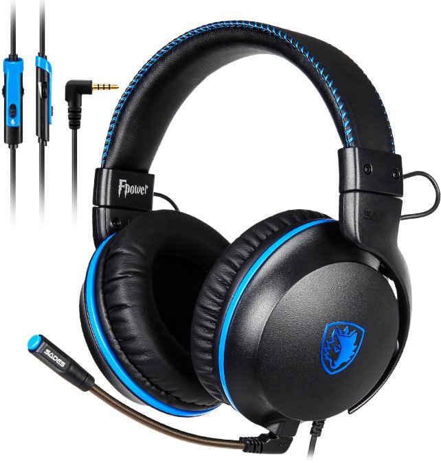Sades »Fpower SA-717« Gaming-Headset (Mikrofon abnehmbar, Kompatibel mit PS4, PS5, Xbox One, Xbox Series X/S und Nintendo Switch, kabelgebunden, Stereo)