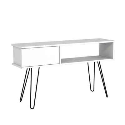 moebel17 TV-Regal »Wohnwand Lara mit Metallfüße Weiß«, Platzsparend mit Metallfüßen
