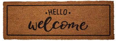 Fußmatte »finesse xs Kokosmatte HELLO Welcome 26 x 75«, Mr. Ghorbani, Rechteckig, Höhe 14 mm