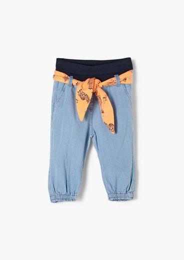 s.Oliver 5-Pocket-Jeans »Jeans mit Stoffgürtel zum Binden« Waschung