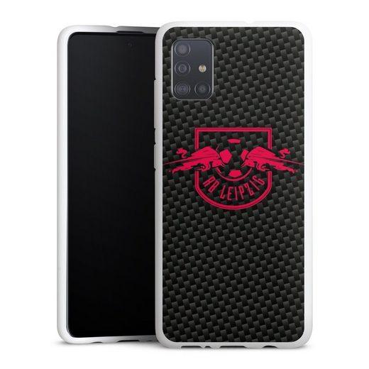 DeinDesign Handyhülle »Rotes RB Leipzig Logo auf Carbonoptik« Samsung Galaxy A51, Hülle RB Leipzig Carbon Offizielles Lizenzprodukt