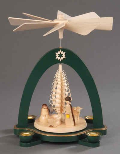 Albin Preissler Weihnachtspyramide »Christi Geburt mit Spanbaum«, Handwerkskunst aus dem Erzgebirge