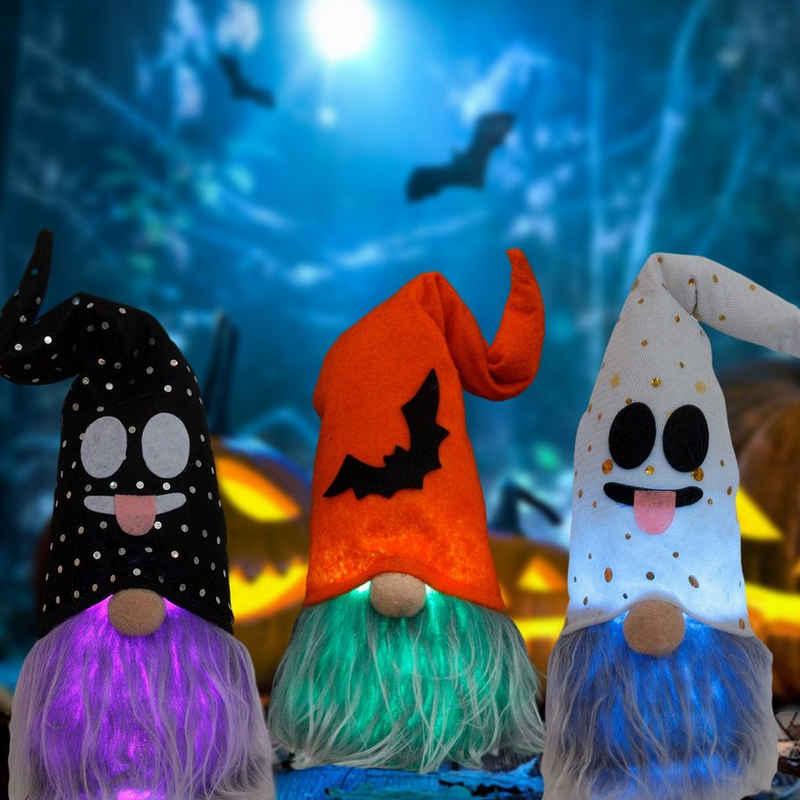 JI-ROC Minipuppe »Halloween Dekoration mit Lichtern leuchtend Rudolph Zwerg gesichtslose Puppe Geister Festival Dekoration Requisiten Ornamente« (Packung)
