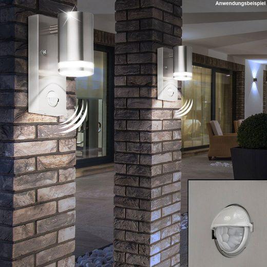 WOFI LED Aufbaustrahler, Außen Wand Lampe Garten Beleuchtung Bewegungsmelder Balkon Strahler Wofi 4011.01.97.7000