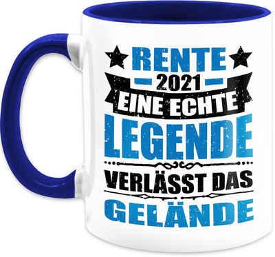 Shirtracer Tasse »Rente 2021 eine echte Legende verlässt das Gelände - blau/schwarz - Kaffeetasse Job Geschenk - Tasse zweifarbig«, Keramik, Beruf Teetasse