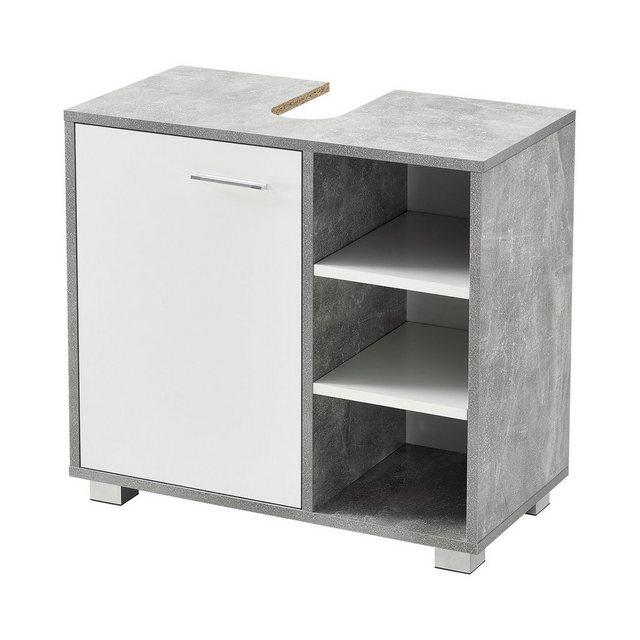 Badschränke - en.casa Waschbeckenunterschrank »Narvik« Badezimmerschrank mit Tür und 3 Ablagen betonfarben  - Onlineshop OTTO