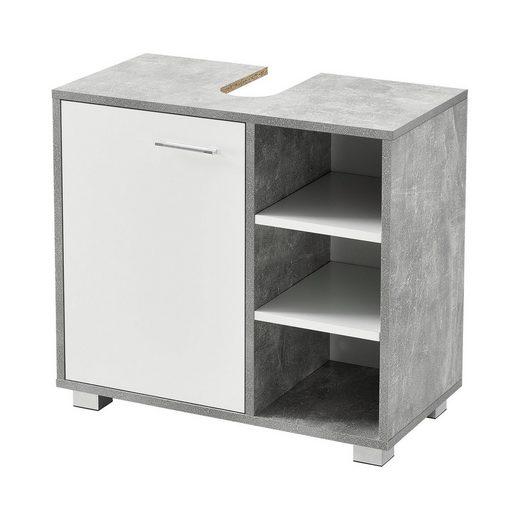 en.casa Waschbeckenunterschrank »Narvik« Badezimmerschrank mit Tür und 3 Ablagen betonfarben
