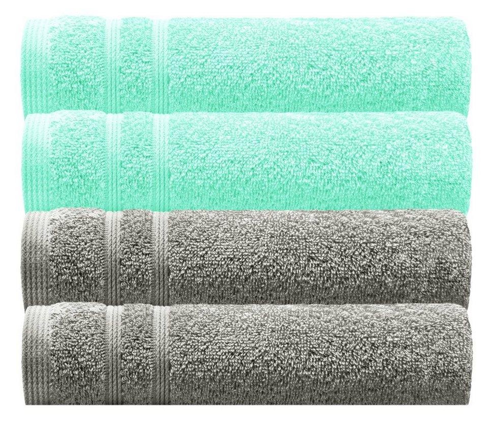 AmeliaHome Handtuch 100/% Baumwolle Bord/üre 30x50 cm G/ästehandtuch beige 500 g//m/² Crea
