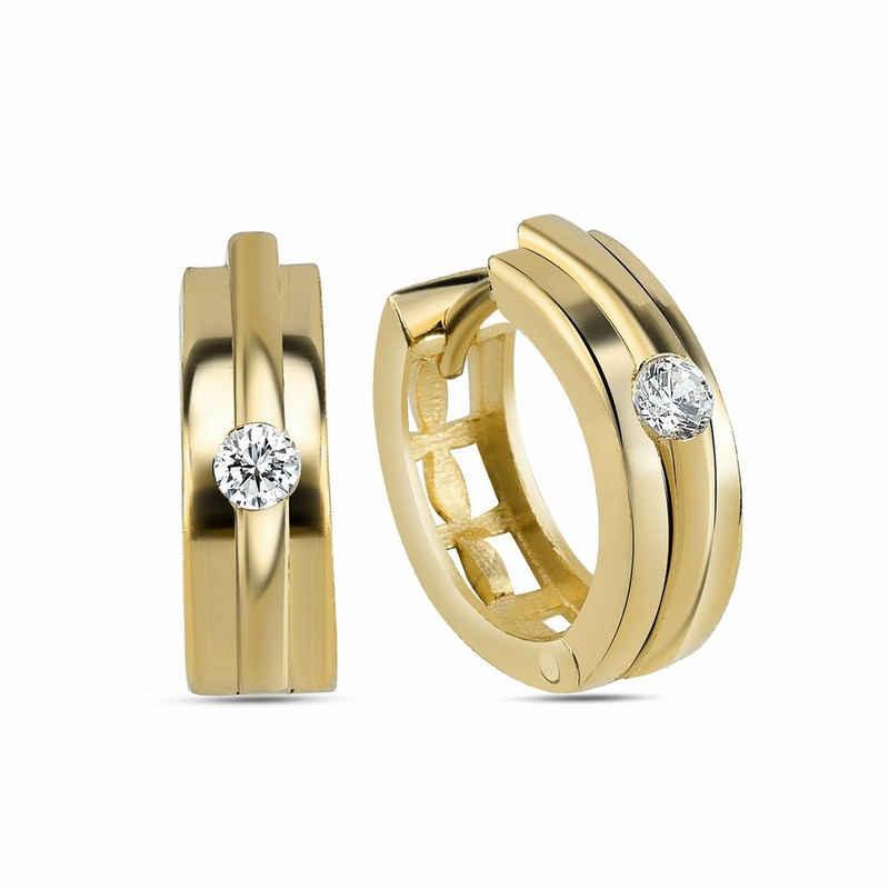 dKeniz Creolen »925/- Sterling Silber vergoldet Hochglanz Design O«